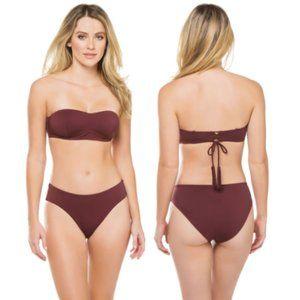 NEW $220 SKIN x Barneys Burgundy Bikini 2 pc SET